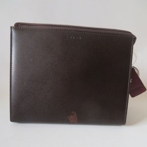 NWD COACH LEATHER ZIPPERED VANITY MAKEUP BAG CASE*